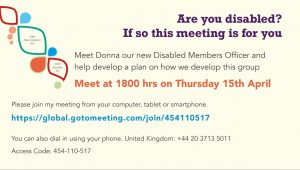 Branch disabled members meeting Thursday 15th April at 6pm