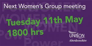 Please come along to our next women's group meeting 11th May at 6pm