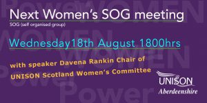 Next online meeting for women members 18 August - please come along