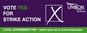 Vote YES for strike action in the local government pay ballot.